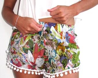 Pom Pom Shorts - Lime Jungle Print - Gym/Beach Shorts