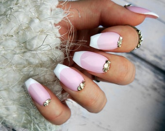 BRIDAL FRENCH tips press on nails | metal pink fake nails | decals glue on nails | classic nude | long short pop on nails | bride wedding