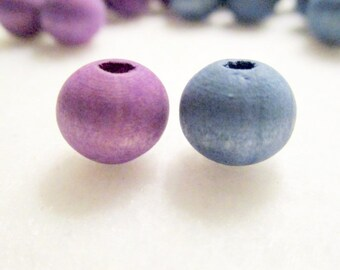 40 Violet and Blue Hand Dyed  Wood Beads, 10mm, Jewelry Making Supplies,  Wood Beads