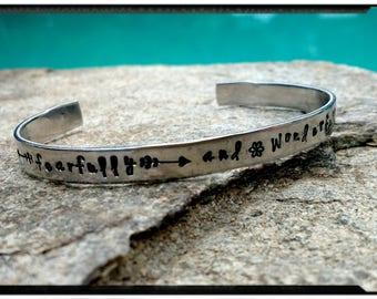 Scripture Cuff - Psalm 139:14 - fearfully and wonderfully made - Hand Stamped Aluminum Cuff//Scripture Bracelet//Religious//Spiritual Cuff
