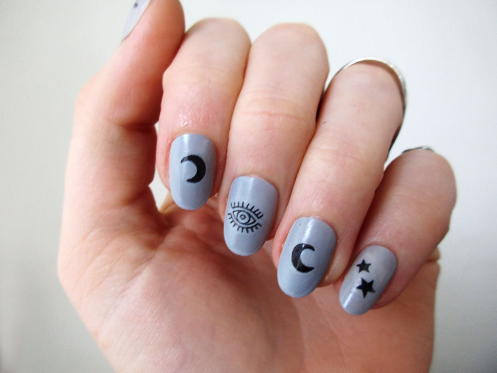 Moon stars and eyes nail tattoos / nail decals / nail art /