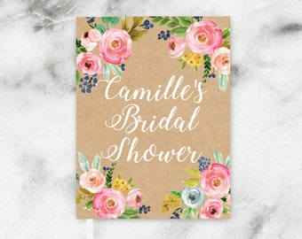 Rustic Floral Bridal Shower Guest Book, Wedding Shower Guest Book, Summer Floral Guest Book, Faux Kraft Guest Book, Pink Peony Guest Book