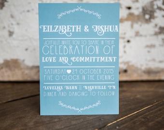 Wedding Invitation, Fun Wedding Invitation, Modern Wedding Invitation -Festive Wedding Suite : A7 Wedding Invitations (Custom Color)