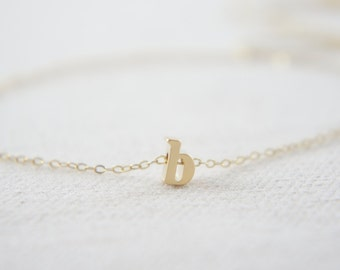 "Gold Letter, Alphabet, Initial  ""b"" necklace, birthday gift, lucky charm, layered necklace"