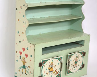 Tin Litho Child's Toy Kitchen Cupboard With Bavarian Boy & Girl By Wolverine