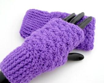 Crocheted Purple Fingerless Gloves. Mittens. Christmas.