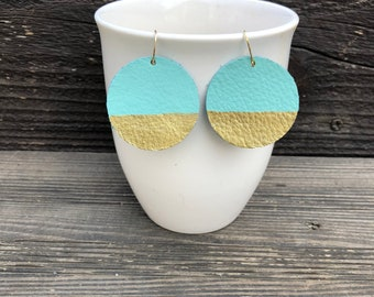 Adorable teal leather earrings with gold!