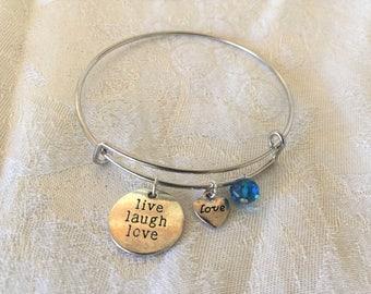 "Charm ""live, laugh, love"" And Blue Aurora Borealis Crystal Adjustable Wire Bangle Bracelet"