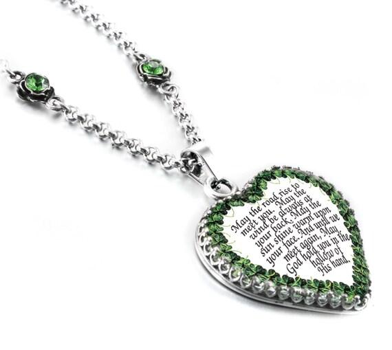 Irish Blessing Jewelry Irish Pendant Celtic Heart Pendant