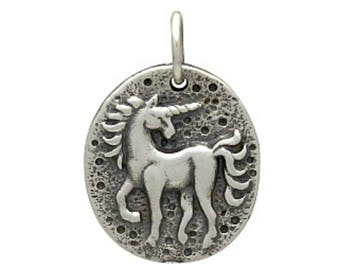 Unicorn charm. Sterling silver unicorn coin jewelry charm or pendant. Make earrings, necklace, or add to charm bracelet. Gift for her.