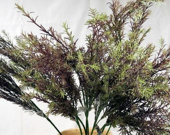 Silk Flowers Green/Purple Foliage Floral Supplies 10 Stems