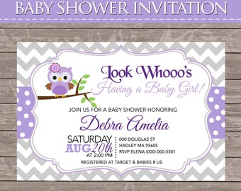 Purple Owl Baby Shower Invite