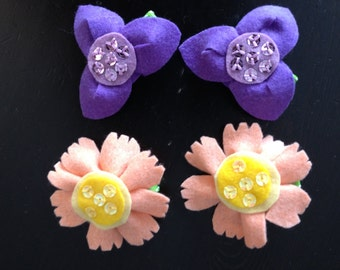 Flower Hair Clips, Flower Hair Clip, Felt Hair Clips, Floral Clip