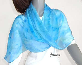 Hand Painted Scarf Aquamarine Light  Blue Wrap, Pure Silk Chiffon Cobalt Powder Blue Accents, One of a Kind by Jossiani