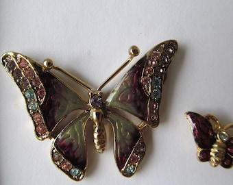 Gorgeous Enameled Butterfly Duo Pin / Brooch Set with Crystal Embellishment Liz Claiborne Collection - Retired New in Box - Perfect for Mom!