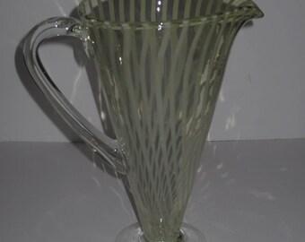 Vintage Hand Blown Glass Mid Century Modern Design Swirl Glass Sangria Pitcher, Water Pitcher