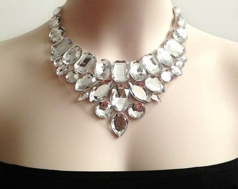 crystal clear bib necklace,bridesmaids, prom, wedding statement necklace gift or for you