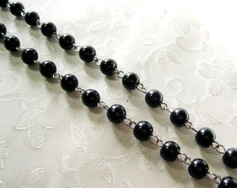 "One Meter 39.5"" Black Glass Pearl 8mm Beaded Rosary Link Chain Silver 965"