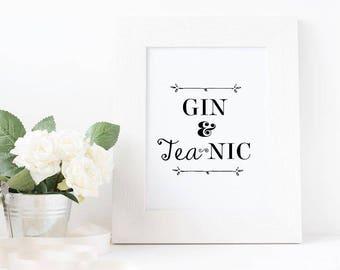 Gin and Tea-Nic || Typography Print ||
