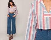 Bohemian Shirt 70s Crop Top Boho Shirt Striped Top Long Sleeve Shirt Hippie Boho Cotton Hipster Cropped Retro Small Medium