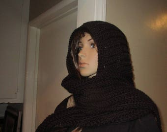 Black Hooded Scarf Touch of Class Hood Scarf  Neck Warmer all in one