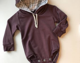 Mauve and White Grid Hooded Bodysuit