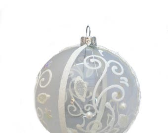 Clear mouth blown hand painted bauble