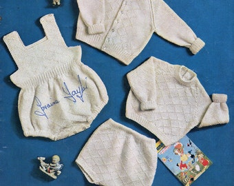 Baby Knitting Patterns Baby Rompers Sweater Cardigan Pants Baby Set Baby Jumpers Boys Rompers DK Rompers 18-20 inch DK PDF instant download