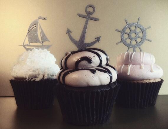 Nautical Cupcake Topper,  Nautical Theme Party, Ocean Cupcake Topper, Beach theme cupcake topper, Beach Cupcake, Nautical Cupcake