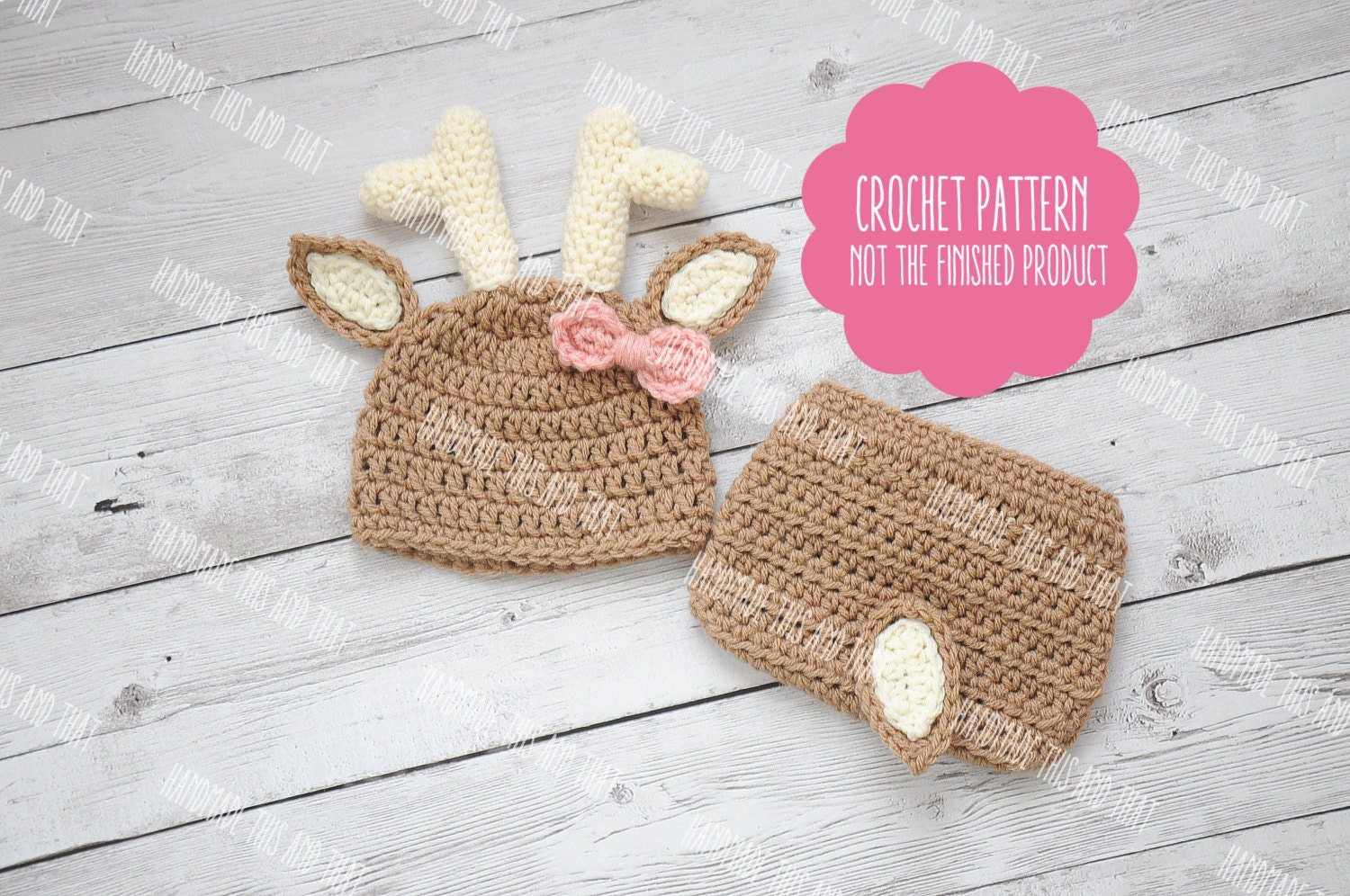 CROCHET PATTERN - Deer hat pattern, Newborn deer outfit pattern ...