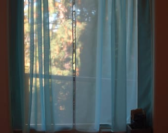 SALE Set Of Two Sheer Voile Cafe Curtain Panels in Blue Color.40''x40'' Ready to Ship