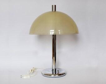 Mushroom Chrome And Acryllic Desk Lamp 70s Plexiglass Shade Space Age Home  Interior Vintage Design 1970
