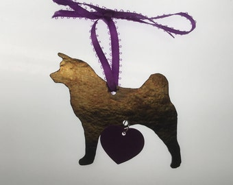 Akita Silhouette Ornament in Stained Glass