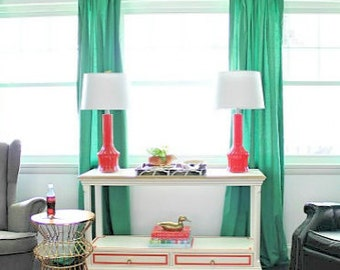 1 Pair Of Solid Kelly Green Curtains ,Window Treatments, Green Curtains,  Kelly Green