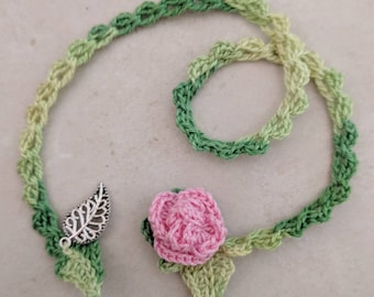 Bookmark Crochet Pink Rose Bookmark