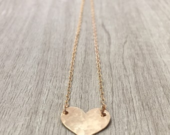SWEETHEART | Gold Heart Necklace | Dainty Hammered Gold Filled Heart Necklace | Mother's Day Gift | Gift For Mom | Necklace For Mom
