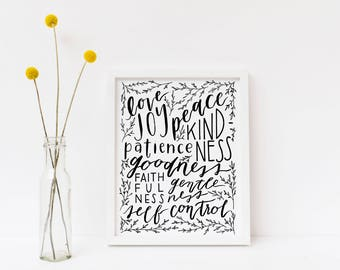 The Fruit of The Spirit, Galatians 5:22-23, Hand-lettered Black and White Art Print