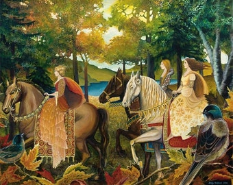 Autumn Riders 8x10 Giclée Print on Canvas Fine Art Print Renaissance Medieval Surreal Fall Forest Equine Goddess Art