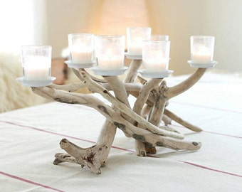 Driftwood Seven Candle Candelabra with Votive Plates, Table Centerpiece, Table Decor, Beach Decor, Driftwood Art, Driftwood Decor, Driftwood
