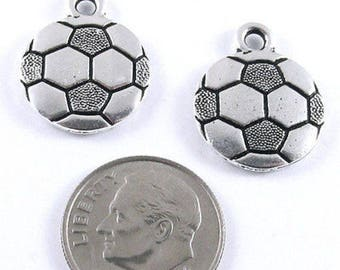 TierraCast Pewter Sports Charms-SILVER SOCCER BALL (2 Pcs)