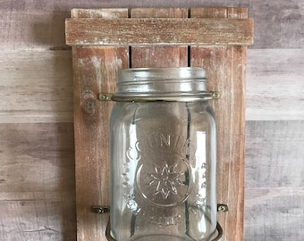 Mason Jar On Reclaimed Wood Mason Jar Flower Holder Wall Decor Farmhouse Style