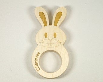 Easter Bunny Wooden Baby Teether Baby Bunny Shaped for Easter Personalized Gift