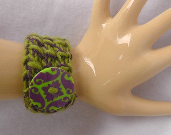 green and purple knitted bracelet