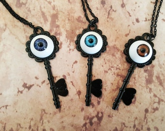 Creepy Cute Eyeball Black Key Necklaces!