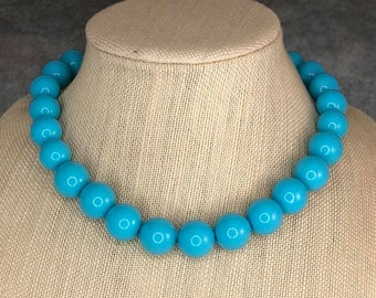 Statement Necklace, Turquoise, Chunky Necklace, Blue, Beaded Necklace, Gumball Necklace, Acrylic Bead Necklace, Graduated, Bold Necklace