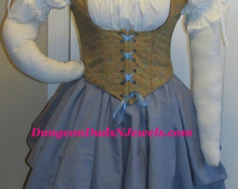 DDNJ Choose Fabrics 4pc Reversible Corset Style Bodice Chemise Skirts Renaissance Plus Custom Made ANY Size Vampire Gypsy Victorian Cosplay