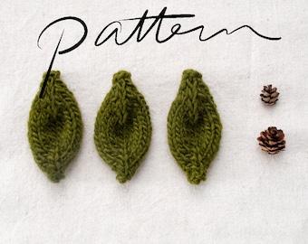 PATTERN - Knitting Pattern Digital Download - Knit Leaf - Knitting Pattern for Kids - Leaves - Accessory - Embellishment