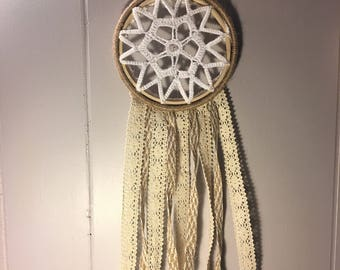 Up-cycled lace dream catcher