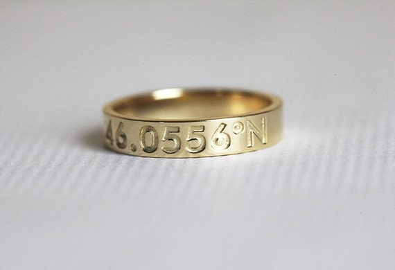 Coordinate Ring Solid Gold Coordinate Band Personalized