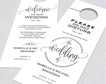 Wedding Door Hanger, Door Hanger Printable, Door Hanger Template, Please Do  Not Disturb